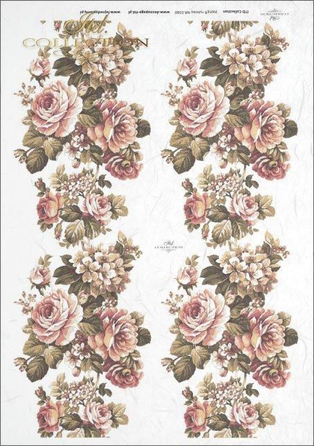 Papier ryżowy do decoupage - duży bukiet z różami, grafika XIX wiek R0380