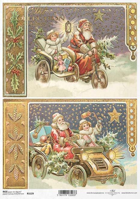 papel decoupage Navidad, Santa Claus*Papír decoupage Christmas, Santa Claus*Papier decoupage Weihnachten, Weihnachtsmann