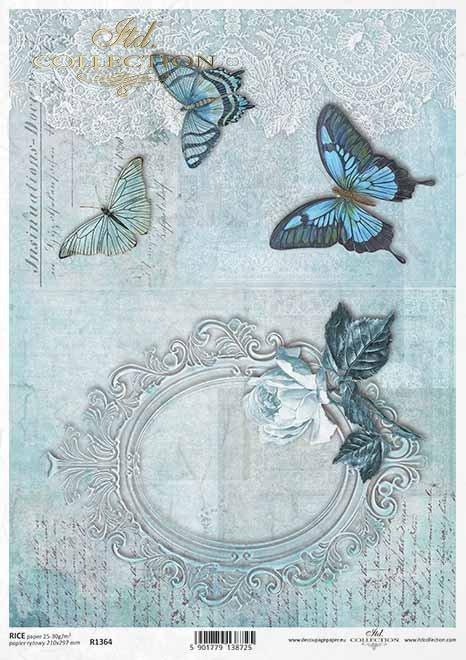 Decoupage Papier mit alten Rahmen, Schmetterlinge, Rose, Vintage*Papel decoupage con marco antiguo, mariposas, rosa, vintage*Декупаж бумага со старой рамкой, бабочки, роза, винтаж