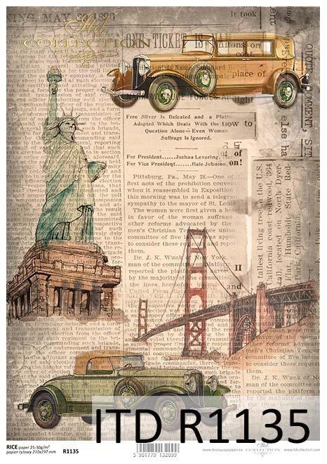 papier decoupage podróże w czasie, architektura, stare auta*Paper decoupage travel time, architecture, old car