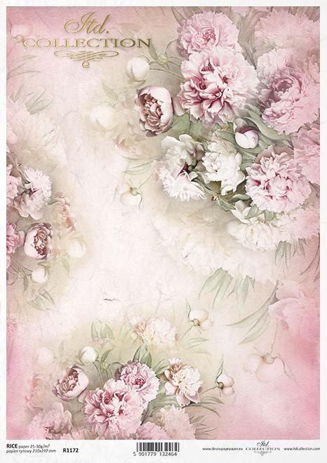papel decoupage peonías, flores*Decoupage Papier Pfingstrosen, Blumen
