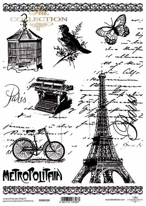 Papel de scrapbooking vintage, Torre Eiffel, bicicleta, carta vieja, pájaro, mariposa*Scrapbooking-Papier der Weinlese, Eiffelturm, Fahrrad, alter Buchstabe, Vogel, Schmetterling*Винтажная бумага для скрапбукинга, Эйфелева башня, велосипед, старое письмо,