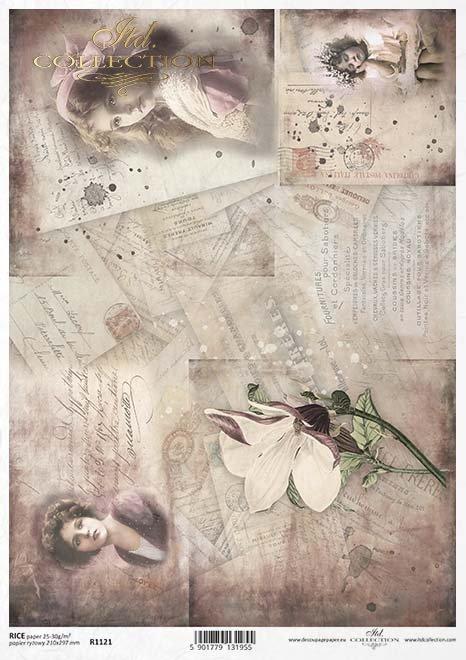 flores de papel decoupage, tarjetas, fotografías antiguas*decoupage papírové květiny, pohlednice, staré fotografie*Decoupage Papier Blumen, Karten, alte Fotos