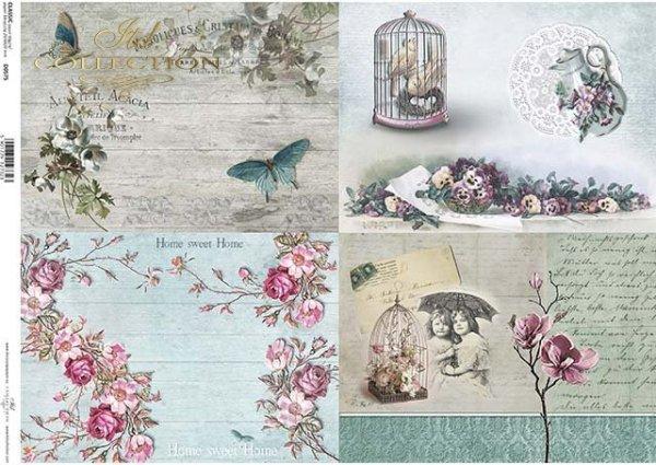 flores de papel decoupage, mariposas, vintage*Decoupage Papier Blumen, Schmetterlinge, Jahrgang