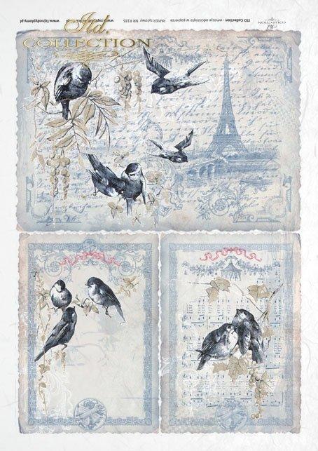 ITD Collection, decoupage, scrapbooking, mixed media, Paris, Eiffel Tower, birds, R0185