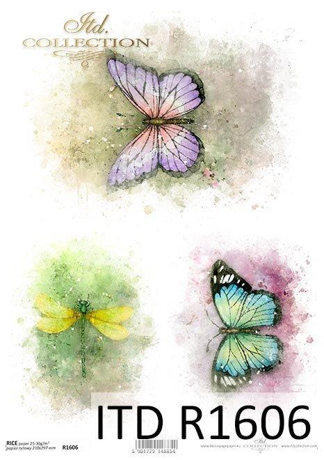 Acuarelas, mariposas de colores, libélulas, insectos, verano*Aquarelle, bunte Schmetterlinge, Libellen, Insekten, Sommer*Акварели, разноцветные бабочки, стрекозы, насекомые, лето