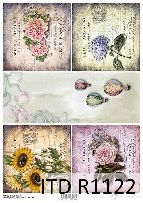 papier decoupage kwiaty, stare kartki*Paper decoupage flowers, old sheets