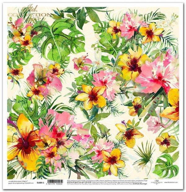 Seria Tropical dreams - tropikalne kwiaty, kwiat hibiskusa, liście monstery, liście palmy