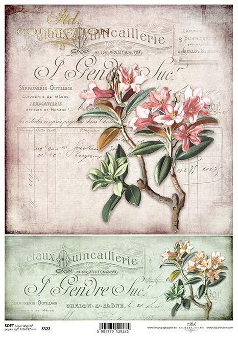 decoupage papírové květiny*decoupage Papierblumen*flores de papel decoupage
