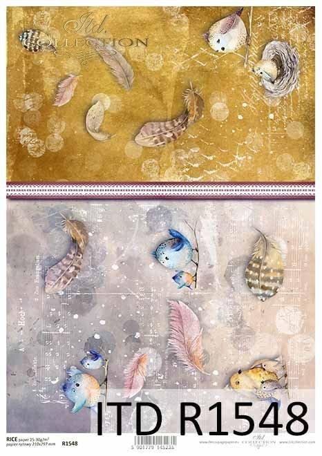 Papier decoupage akwarelowe ptaszki, piórka, kolaż*Watercolor decoupage paper birds, feathers, collage