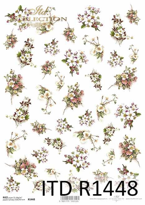 kwiaty, dzika róża, kwiat wiśni, drobne elementy*flowers, wild rose, cherry blossom, small elements