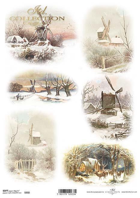 Das Papier decoupage festlich, winter*Papír decoupage slavnostní, zima*El decoupage de papel festivo, invierno