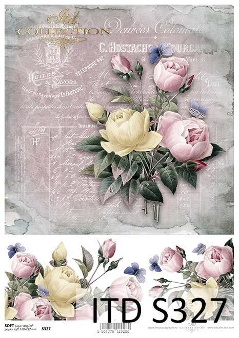 Papier decoupage kwiaty, róże*Decoupage paper flowers, roses