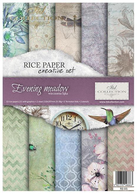 Zestaw kreatywny na papierze ryżowym Wieczorna Łąka*Creative set on rice paper Evening Meadow