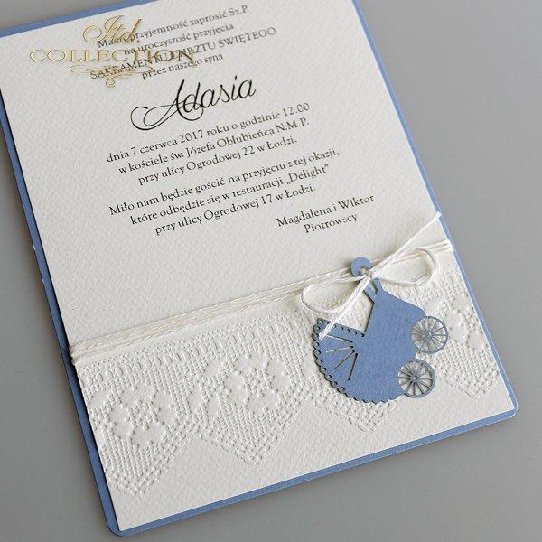 Zaproszenie na chrzest 2028 niebieski