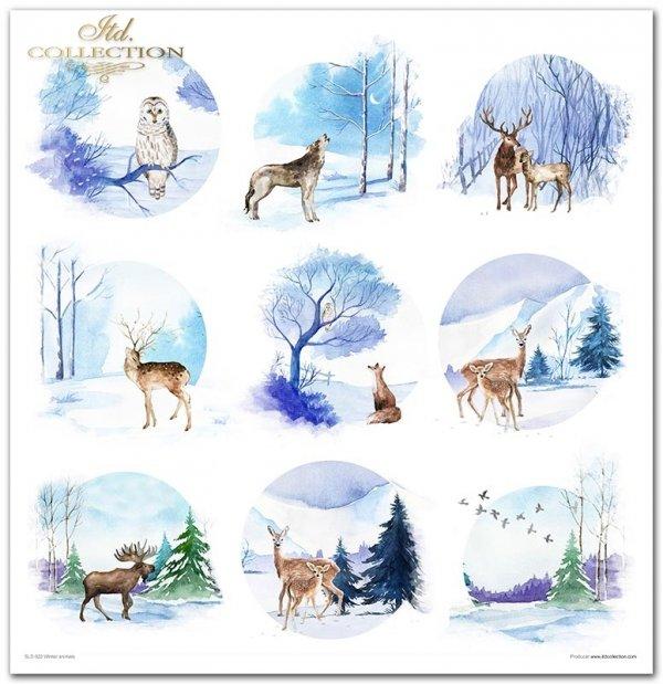 Winter animals - Zimowe zwierzęta, sroka, gil, łoś, niedźwiedź, wilk, sowa, zając, jeleń, przekładki do bombek, zimowe widoczki, śnieżynki, gwiazdki, akwarele
