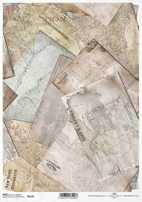 Los mapas de decoupage de papel viejo*Papír Decoupage staré mapy*Papier decoupage alte Karten