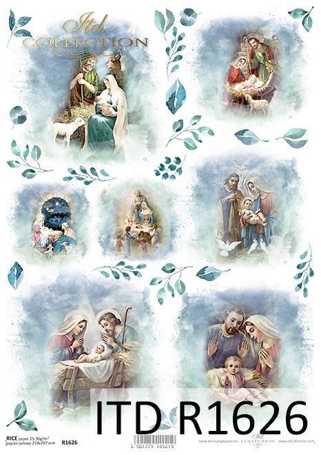 Papel de arroz - Navidad en azul*Reispapier - Weihnachten in blau*Рисовая бумага - Рождество в синем