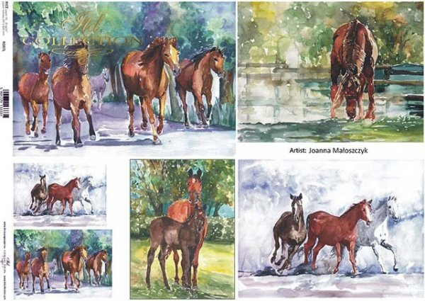 Papier Decoupagepapier zeitgenössische Malerei-Pferde*Бумага Декупаж современной живописи-лошади*Papel Decoupage pintura contemporánea-caballos