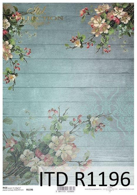 papier decoupage kwiat jabłoni, niebieskie deski*Paper decoupage apple blossom, blue plank