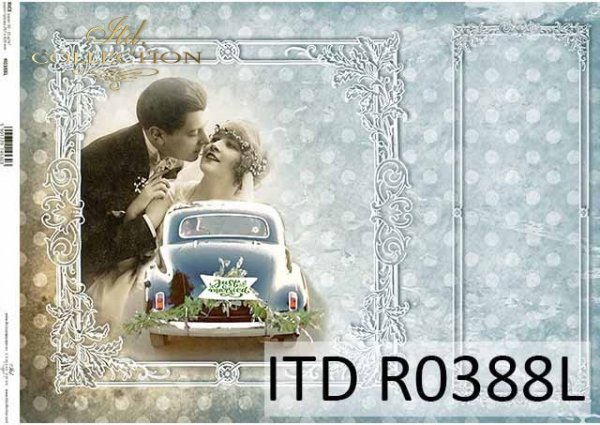 Papier decoupage Młoda Para, samochód do ślubu, ozdobne białe ramki, Vintage*Decoupage paper. Young Couple, wedding car, decorative white frame, Vintage