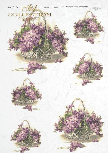 decoupage-scrapbooking-mixed-media-kwiatki-fiołek-fiołki-koszyk-R0168