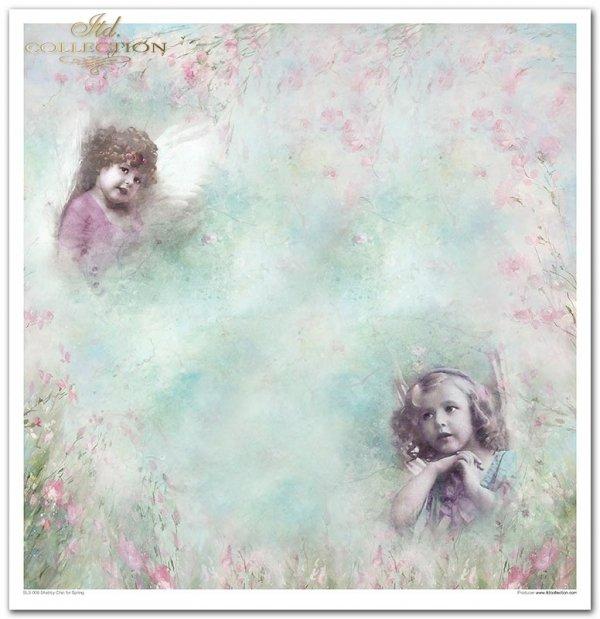 Wiosenne Shabby Chic, kwiaty, róże, angielska róża, spękania, deski, dziewczynki, ptaki, zające, króliki