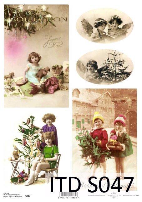 dzieci, Święta, świąteczne dekoracje, Boże Narodzenie, zima, retro, choinka, prezenty
