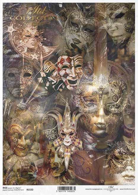 Papel decoupage Máscaras venecianas*Decoupage-Papier venezianische Masken*Декупаж из бумаги Венецианские маски