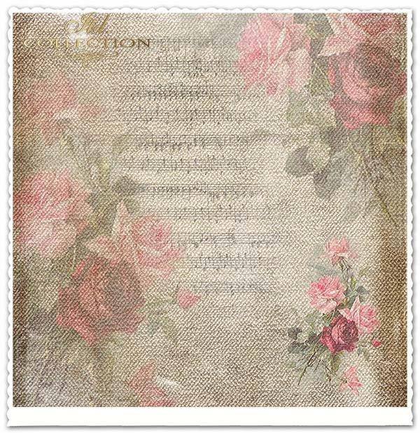 papier do scrapbookingu kwiaty, róże, nuty*Paper for scrapbooking flowers, roses, musical notes