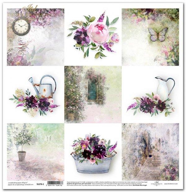 Seria Ogród marzeń - Ogród marzeń, konewka, dzbanek, drzewko oliwne, motyl, zegar, bukiety kwiatów, kamienne schodki