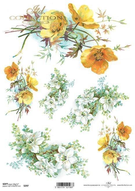 decoupage papír měsíčku*caléndulas papel decoupage*Decoupage Papier marigolds