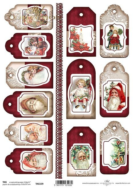 Papier für Scrapbooking-Weihnachtsmarken*Papír na scrapbooking-vánoční slova*Papel para álbumes de recortes-Navidad Etiquetas
