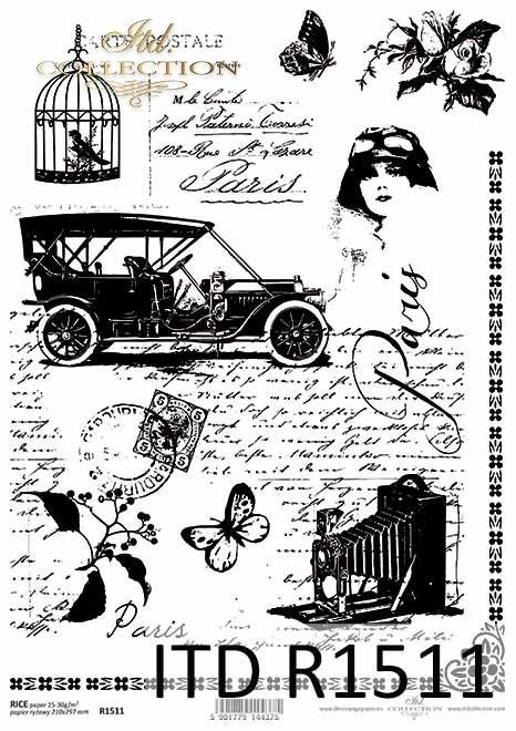 Papier ryżowy Vintage, stary samochód, aparat fotograficzny, klatka z ptaszkiem, stare pismo*Vintage rice paper, old car, camera, birdcage, old letter