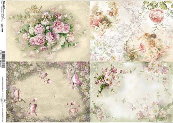 papel decoupage flores, pájaros, ángeles, duendes*Decoupage Papier Blumen, Vögel, Engel, Elfen