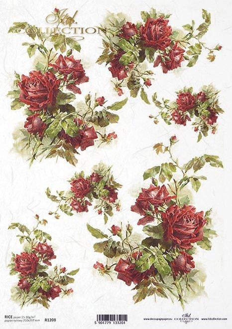 Papel de arroz rosas de color rojo oscuro*Бумага рисовая темно-красные розы*Reispapier dunkelrote Rosen