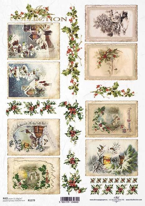 Navidad, invierno imágenes enmarcadas, acebo*Weihnachten, Winter gerahmte Bilder, Stechpalme*Рождество, зимние обрамленные картины, падуб
