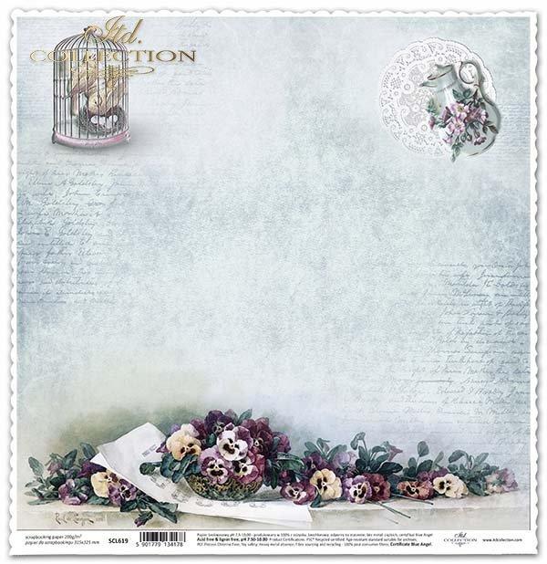 papel para álbum de recortes, flores, pensamientos*Papier für das Scrapbooking, Blumen, Stiefmütterchen, Vogelkäfig*бумага для скрапбукинга, цветы, анютины глазки