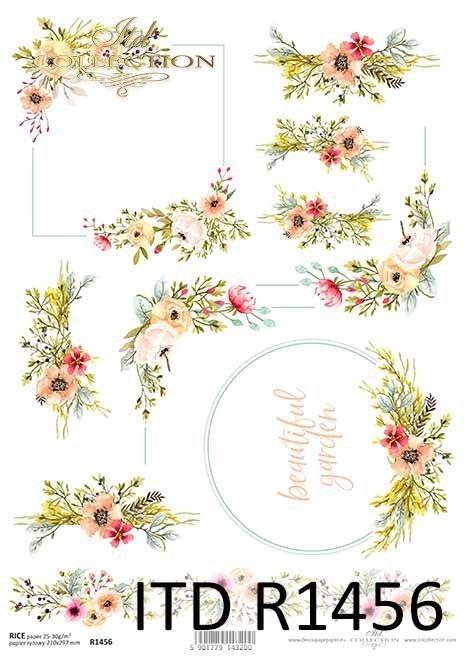 papier decoupage akwarele, kwiatki*papier decoupage akwarele, kwiatki