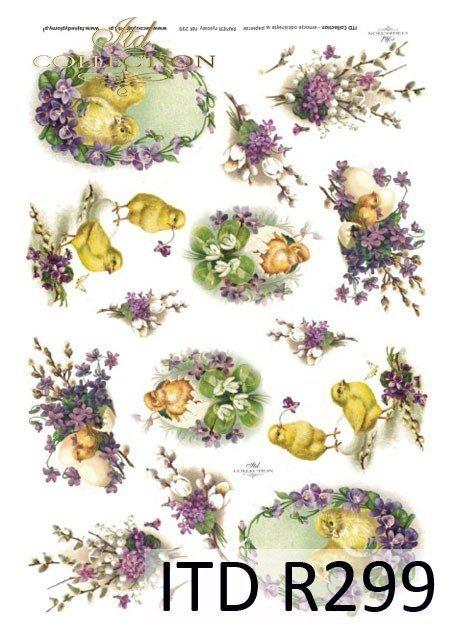 Wielkanoc, kurczaki, kurczaczki, kwiatki, wiosna, jajka, pisanki, fiołki, R299