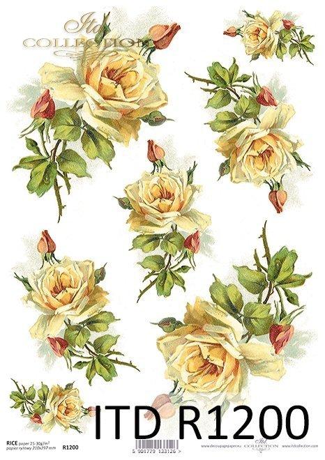 Papier ryżowy kwiaty, herbaciane róże*Rice paper flowers, tea roses