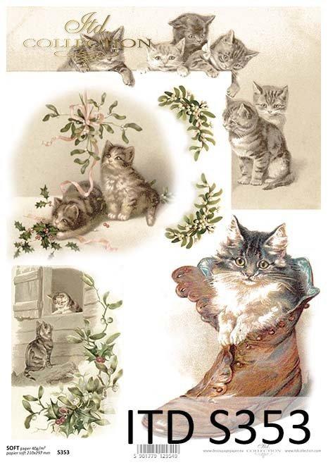 papier decoupage świąteczny, koty*paper decoupage Christmas, cats