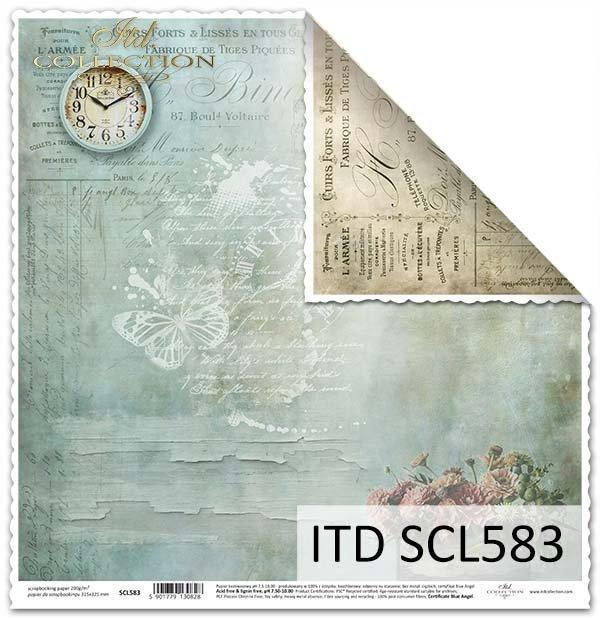 Papier do scrapbookingu - zegar, stara farba*Paper for scrapbooking - clock, old paint