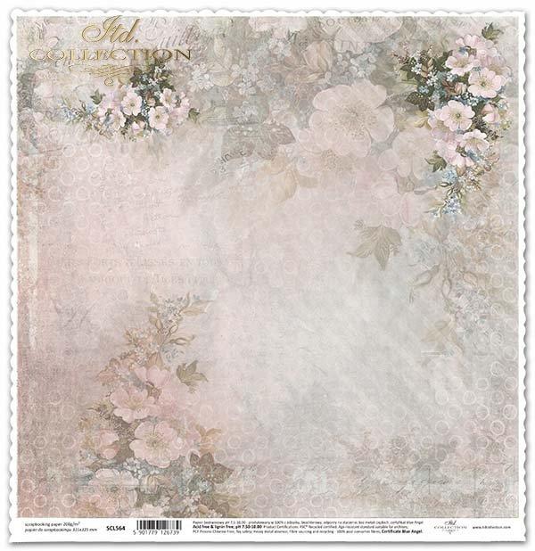 Papír pro scrapbooking Jednostranné květin*Papier für das Scrapbooking seitig Blumen*Papel para álbum de recortes de flores-sided