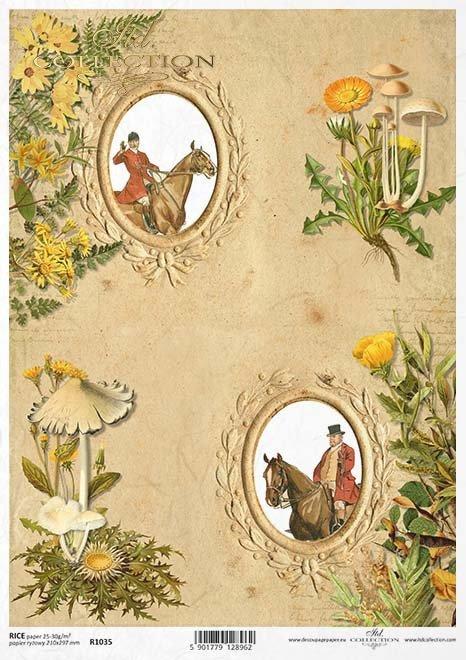El marco de papel decoupage, la caza, las setas*Na papír decoupage rám, lov, houby*Die Papierserviettenrahmen, Jagd, Pilze