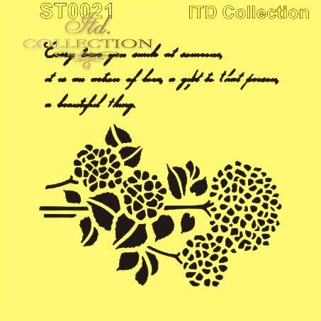 ST0021 - napisy, kwiaty, hortensja