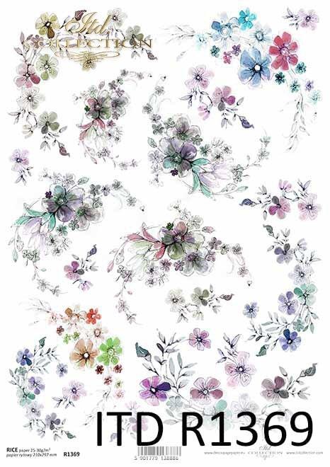 papier ryżowy drobne kwiatuszki, dekory, szlaczki*rice paper, small flowers, decors, lines