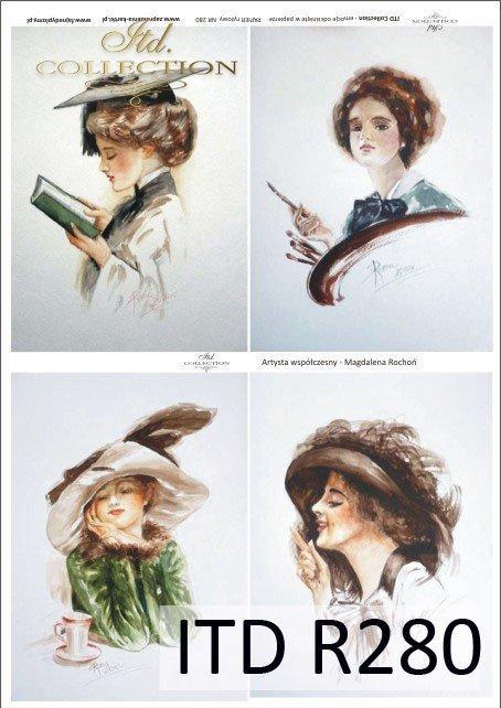 portret, portrety, kobiety, fryzura, fryzury, kapelusz, kapelusze, retro, dama, Magdalena Rochoń, R280