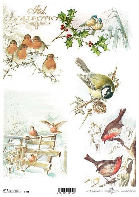 pájaros de papel decoupage*decoupage papír ptáci*Decoupage Papier Vögel