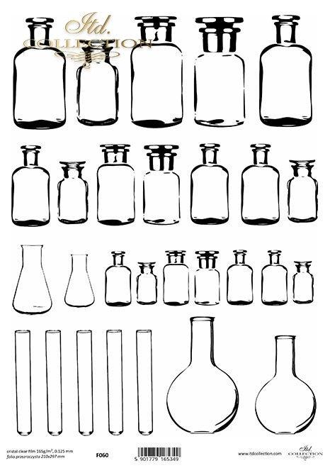 szklane buteleczki, próbówki, kolby stożkowe*glass bottles, test tubes, conical flasks*Glasflaschen, Reagenzgläser, Erlenmeyerkolben*botellas de vidrio, tubos de ensayo, matraces cónicos